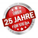 Button with Banner and text- Über 25 Jahre für sie da